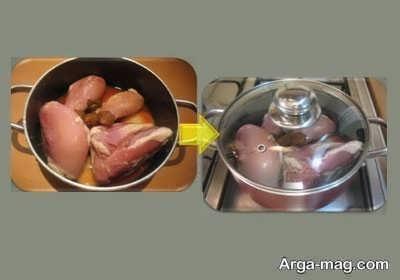 آب پز کردن سینه مرغ