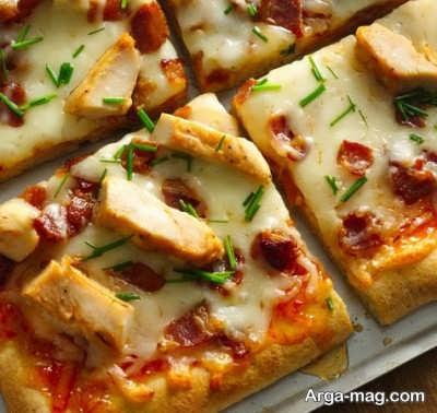 پیتزا مرغ و قارچ لذیذ