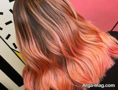 رنگ مو مرجانی با هایلایت