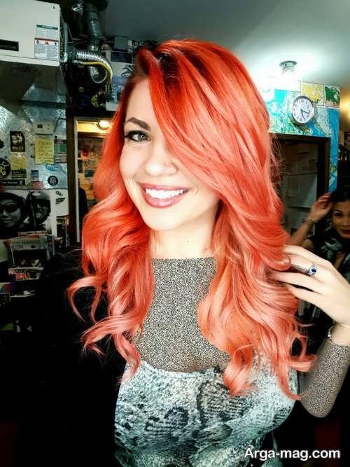 رنگ مو مرجانی با توناژ رزگلد