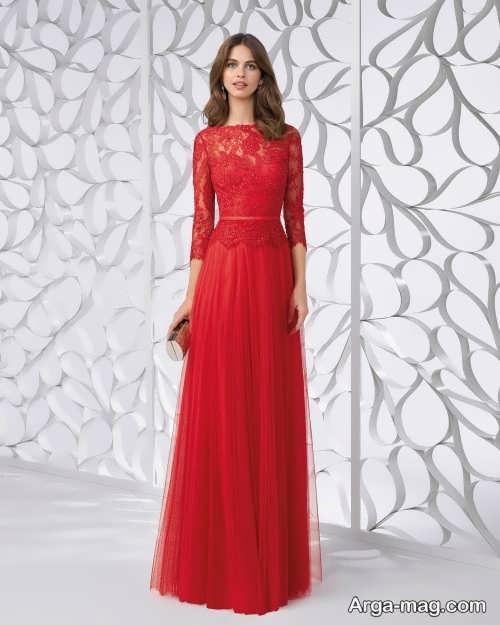 لباس مجلسی قرمز و آستین دار