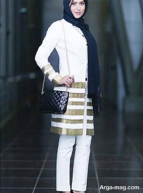 مدل مانتو طلایی و سفید پریناز ایزدیار
