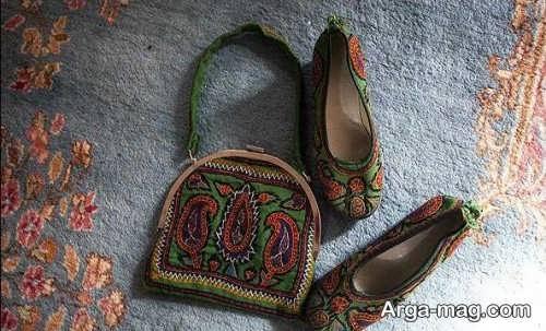 طرح پته روی کفش و کیف