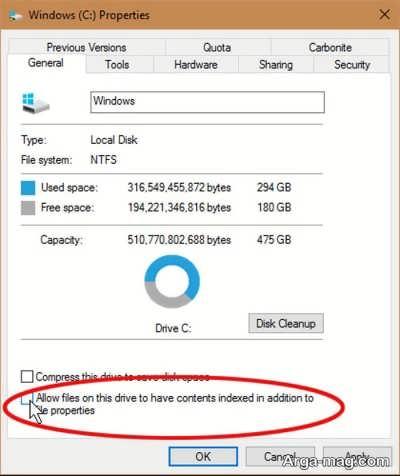 غیر فعال کردن فهرست سازی در ویندوز 10