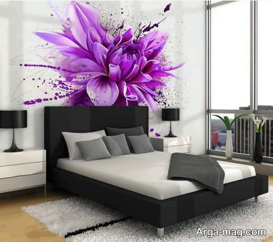کاغذ دیواری گل برای اتاق خواب