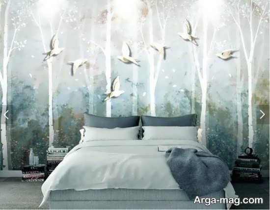 کاغذ دیواری با طراحی شیک برای اتاق خواب
