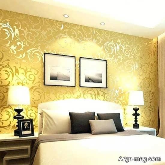 کاغذ دیواری با تم زرد برای اتاق خواب