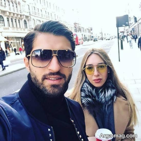 عکس عاشقانه کریم انصاری فرد و همسر یونانی اش