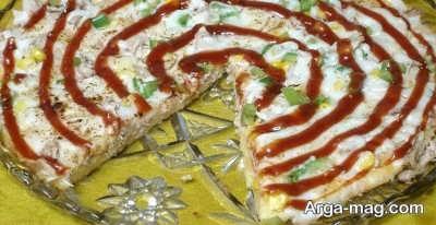 پیتزا با قارچ و مرغ