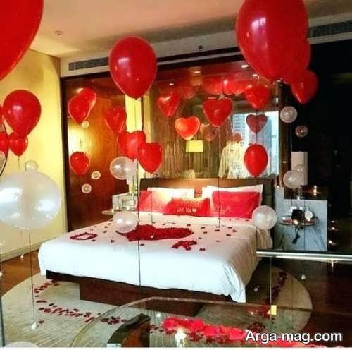 تزیین اتاق خواب عروس با بادکنک