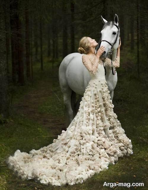 پیراهن عروس گل برجسته