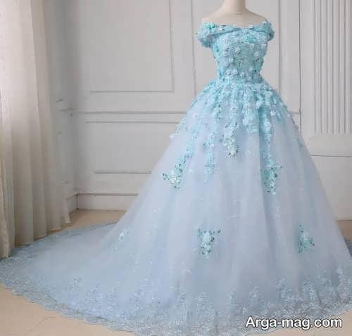 مدل لباس عروس رنگی کار شده