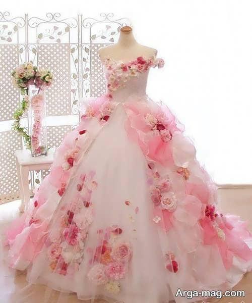 مدل پیراهن عروس گل برجسته
