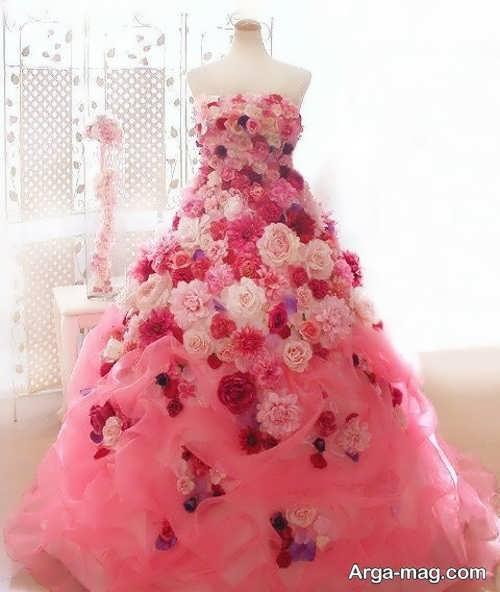مدل لباس عروس گل برجسته و فانتزی