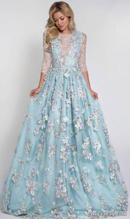 مدل لباس عروس گلدار و رنگی