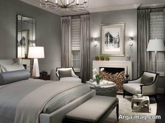 چیدمان اتاق خواب خاکستری