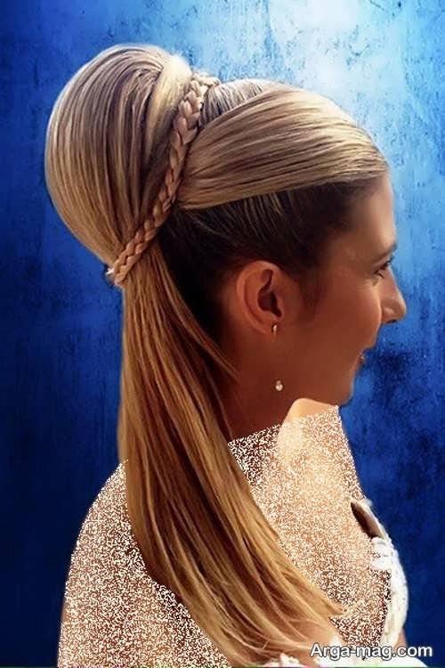 مدل مو باز همراه با بافت موی تزیینی