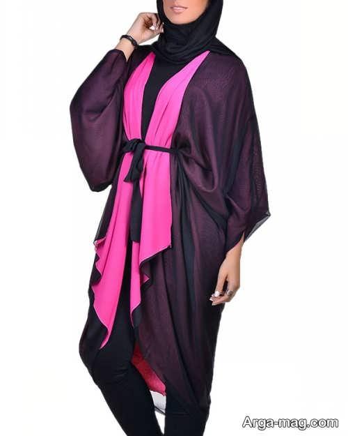 مدل مانتو کیمونو دو رنگ