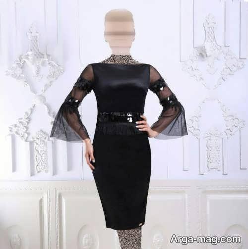 مدل لباس مجلسی آستین کلوش و کوتاه