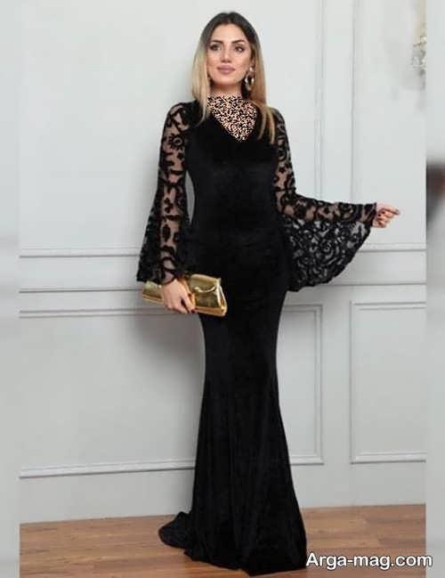 مدل لباس مجلسی بلند آستین کلوش