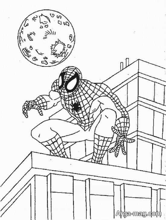نقاشی کارتونی مرد عنکبوتی