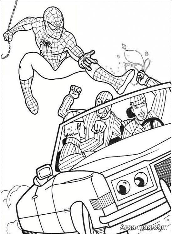 نقاشی کودکانه مرد عنکبوتی