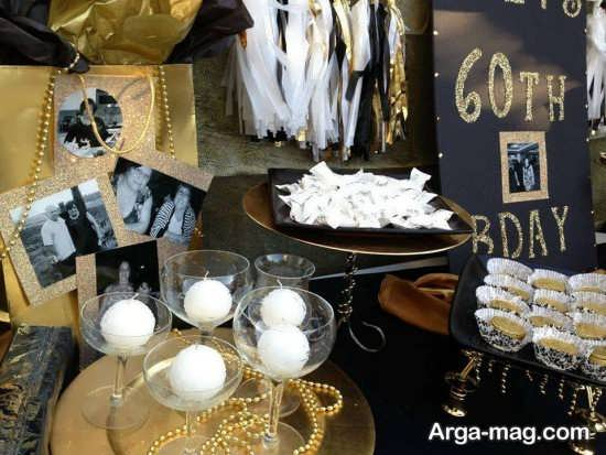 دیزاین جشن تولد با تم مشکی طلایی