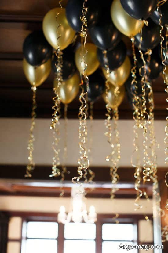 دکوراسیون جشن تولد با تم طلایی مشکی