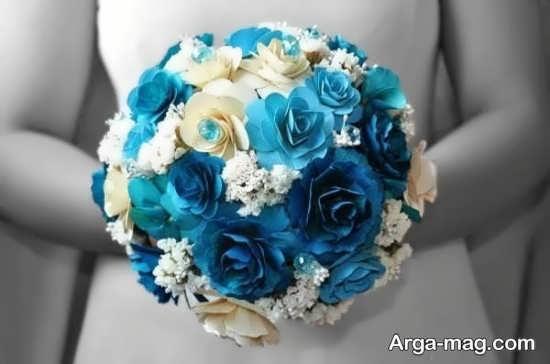 دسته گل آبی عروس و مصنوعی
