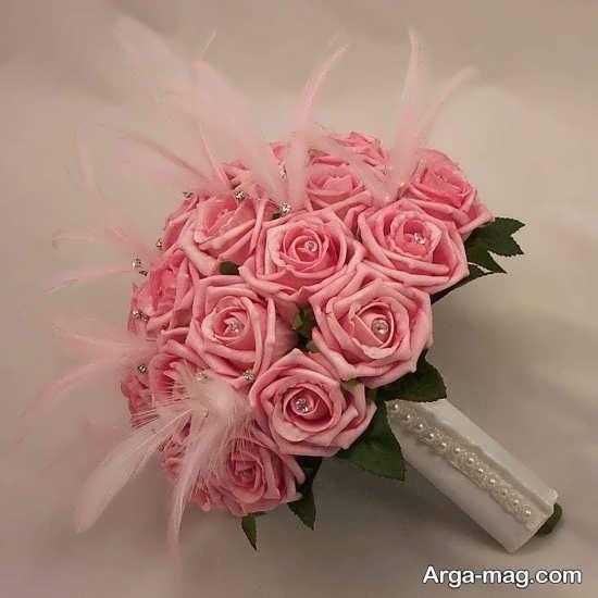 دسته گل صورتی مصنوعی برای عروس