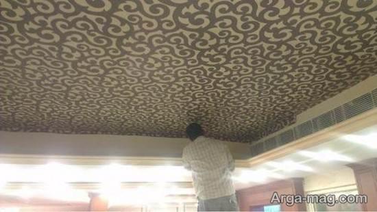 مدل جالبی از کاغذ دیواری در سقف منزل
