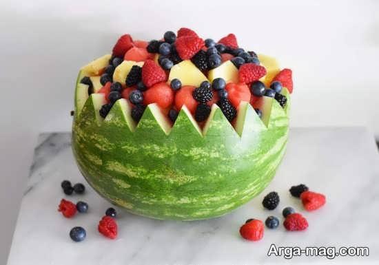 تزئین هندوانه و با انواع میوه
