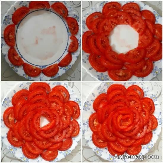 تزئینات گوجه فرنگی به شکل گل زیبا