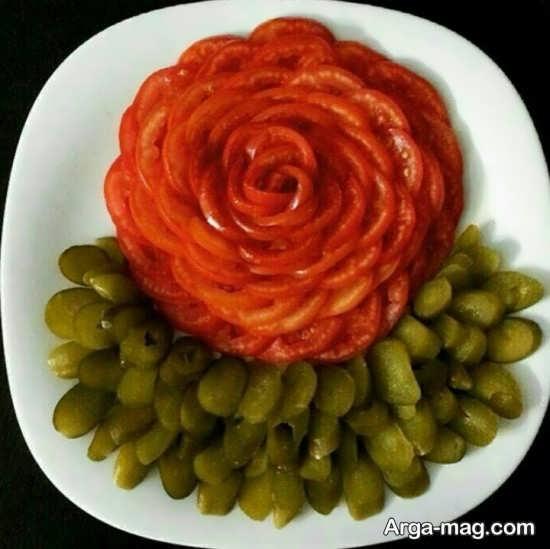 ایده های زیبا برای تزئینات خیار شور و گوجه فرنگی