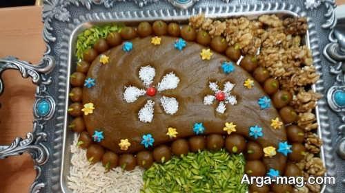 تزیین حلوا با شکلات های رنگی