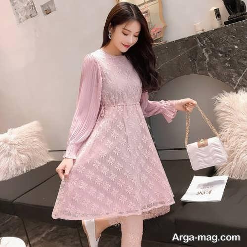 مدل لباس مجلسی کره ای آستین دار