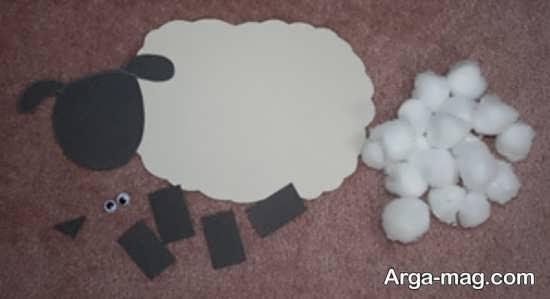 کاردستی جدید و شیک گوسفند با پنبه و مقوا
