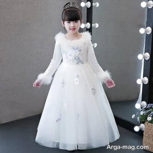 لباس عروس آستین دار بچه گانه