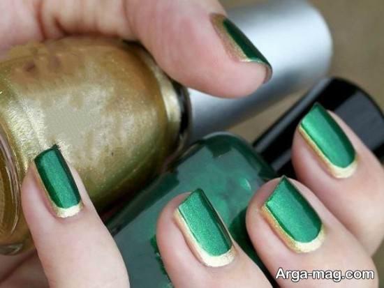 طراحی ناخن با لاک سبز