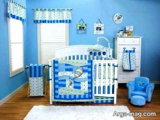 چیدمان زیبای اتاق نوزاد پسر