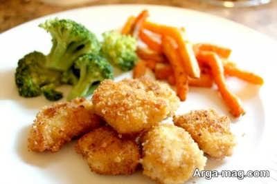 ناگت مرغ و سبزیجات