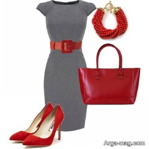 ست لباس مجلسی طوسی و قرمز