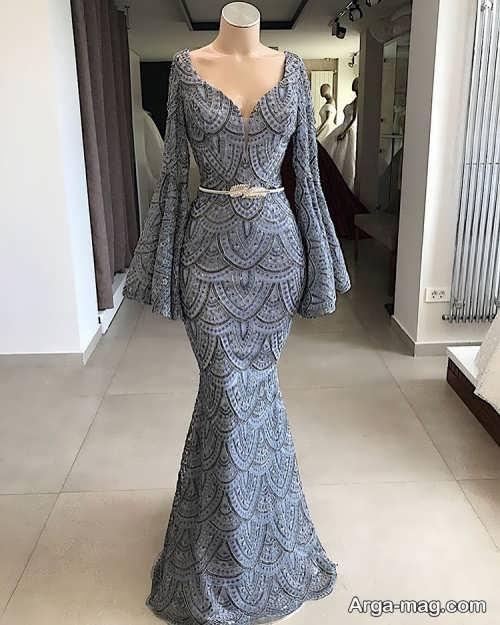 لباس مجلسی بلند طوسی