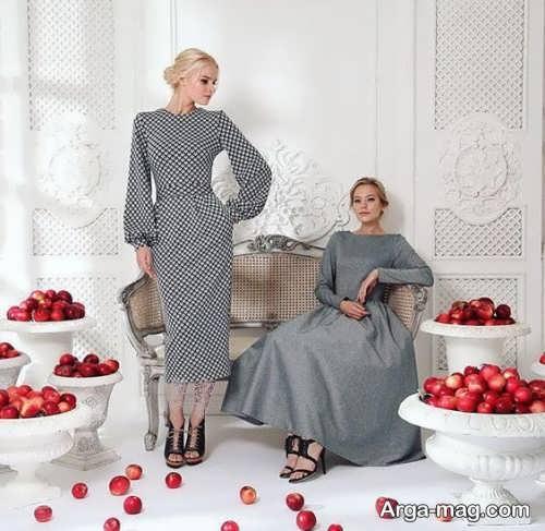 مدل لباس مجلسی طرح دار طوسی
