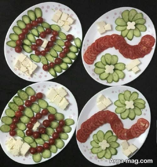 تزیین خیار و گوجه و پنیر