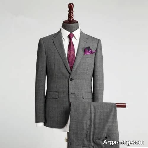 کت و شلوار خاکستری مردانه