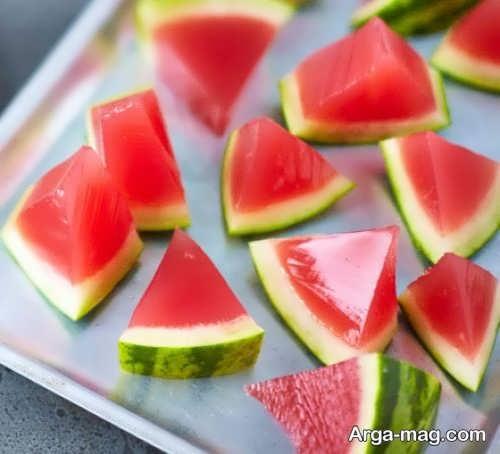 تزیین ژله به صورت برش های هندوانه
