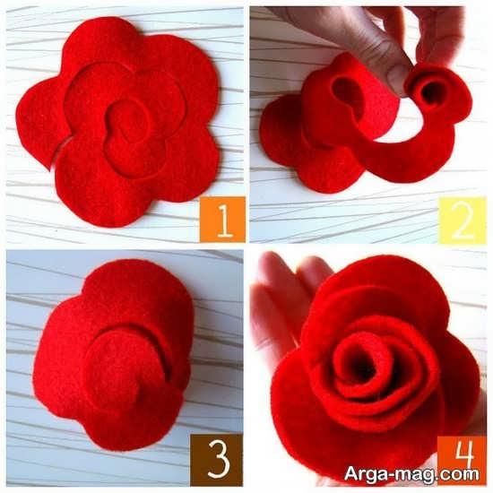آموزش تصویری ساخت گل پارچه ای