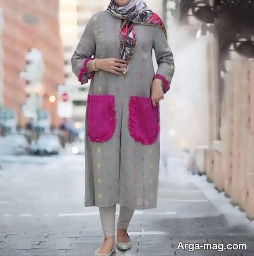 مدل مانتو خاکستری زیبا و شیک