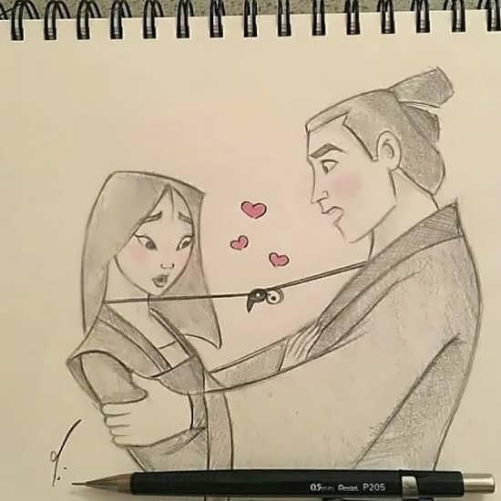 نقاشی رمانتیک و عاشقانه متفاوت